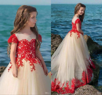Wholesale wedding wear for girl kid for sale - Latest A Line Lace Appliques Flower Girl Dresses Jewel Short Sleeve Kids Wear For Weddings Pageant Girl Dresses