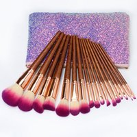 Wholesale mahogany hair online - New pieces sets wood professional makeup brushes set Featured mahogany Powder brush Eye shadow brush With cosmetic bag