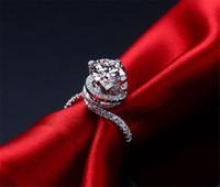 weißgold moissanite verlobungsringe großhandel-Echtes Moissanite zertifiziert Twist Style 2CT Test positive feste 750 Weißgold Moissanite Verlobungsring für Frauen Wert wert