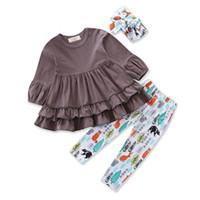 ingrosso i bambini vestono la fascia-Vestiti delle neonate Bambini Moda Grigio Vestito + Pantaloni con fascia 3-Pc Abbigliamento per bambini Imposta colore misto 1-5Y