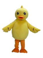 trajes de mascote de pato amarelo venda por atacado-2018 Alta qualidade hot yellow duck mascot costume com uma boca grande para adulto para usar