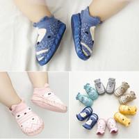 slip socks toddler оптовых-6 Цвет Baby INS мультфильм лиса медведь носки обувь дети первые ходунки хлопок PU нескользящей малыша носки подходит для 0-1 лет B