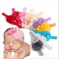 Wholesale Baby Flower Headband Toddler Kid Girl Infant Colors Flowers Hair Bow Band Birthday party Hair Accessories Photography props TS003
