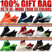 Wholesale Black Leather Tango Shoes - New Mens Trainers Soccer Cleats Socks High Top ACE 17+ Purecontrol FG Soccer Shoes ACE Pure Control Tango 17.1 Indoor TF IC Football Boots