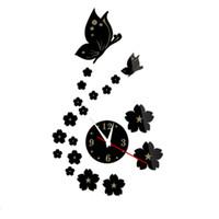 ingrosso decorazione domestica degli adesivi della parete della camera da letto-Lovely Butterfly and Clock Design Specchio Adesivi murali Casa Camera da letto Decorazioni per ufficio Adesivo da parete decalcomanie smontabile