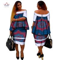 vestido de milho venda por atacado-Africano Dashiki Imprimir Roupas Femininas Duas Peças Tops e Body Corn Dress Novo Design 2017 Moda Plus Size BintaRealWax WY2400