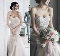Wholesale strapless lace beach wedding dresses resale online - Elegant Vintage Country Style Mermaid Lace Wedding Dresses Strapless d Floral Applique Wedding Dresses Bridal Gowns Boho Beach Dress