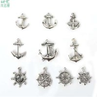Wholesale heart shaped jewelry findings for sale - Group buy New Arrival Anchor Rudder Shape Metal Charms Antique Silver Plated Types Mixed Size Zinc Alloy Pendant Jewelry Finding