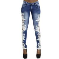 835f568dce553 Fetoo High Quality Lace Patchwork Women Pencil Pants Jeans Trousers Low Waist  Skinny Slim Denim Elastic Pants Female P45 S18101603