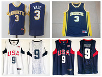 Wholesale Usa University - Men's Marquette College #3 Dwyane Wade Jersey Navy Blue University Dwyane Wade 2008 USA Dream Team Stitched Basketball Jerseys Shirts