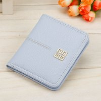 Wholesale cute woman ladies wallet online - New Lady Girl Candy Colors Cute Wallets Small Short Wallet Coins Purse Card Holder Women Bifold Black Blue Pink Grey A329