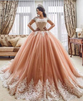 Wholesale teen sweet sexy - Luxury Ball Gown Quinceanera Dress 2018 Jewel Lace Applique Corset Sweep Train Sweet 16 Desses Formal Evening Wear Vestido De 15 Anos Teens