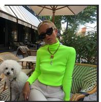 neon pullover manga longa venda por atacado-Novo design das mulheres outono sexy bodycon túnica gola alta manga neon cor fio de algodão de malha tops camisola pullover camisas