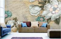 ingrosso sala tv arte pittura-Retro stile europeo Pittura a olio Fiore Sfondi Soggiorno camera da letto TV Sfondo Wallpaper Grande dipinto a mano astratto Art Mural