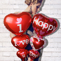 Wholesale love red heart balloons - 98*50cm Heart Shaped I Love You Red Foil Balloons Party Decoration Engagement Anniversary Weddings Valentine Balloons WX9-285