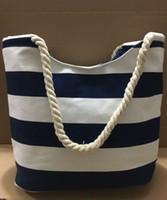 marineblaue streifen tasche großhandel-HG New Fashion Damen Marineblau gestreifte Canvas Tasche Einkaufstasche Einkaufstasche versandkostenfrei