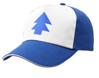 sombrero azul de las niñas al por mayor-2019 New Boy Girls sombreros BLUE PINE TREE Trucker snapback Caps Cartoon New Curved Bill Dipper niños Gravity Falls Trucker Cap niños