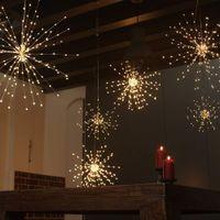 bakır dekor toptan satış-Karahindiba Fireworks Dize Işıklar, LED Bakır Yıldız Yağmuru Işıklar Buket Şekli DIY Düğün Dekor Için 100 LED Mikro Işıkları
