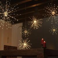 fuegos artificiales de cobre al por mayor-Luces de la secuencia de los fuegos artificiales del diente de león, luces de cobre del LED Starburst Forma del ramo 100 luces micro del LED para la decoración de la boda de DIY