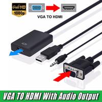 ingrosso nuovo cavo vga-Nuovo cavo adattatore convertitore maschio VGA a HDMI femmina con uscita audio 1080P VGA HDMI Adapter per PC Laptop per proiettore HDTV