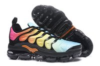 Wholesale pvc channels - 2018 explosion models Hot Vapormax TN Plus football 16-channel running shoes men snake pattern climbing breathable non-adult properties