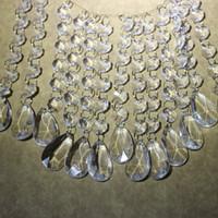 boncuk dekorasyon yılbaşı toptan satış-60 string * 17., 5 cm Gözyaşı Akrilik Kristal Boncuk Garland Avize Asılı Düğün Dekorasyon Yeni Yıl Noel Sekizgen Boncuklu