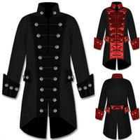 Wholesale Pirate Men Costume - 2018 New arrival Men S Velvet Trim Steampunk Vampire Goth Jacket Gothic Coat Pirate Cotton Coat Festival Costume Tops