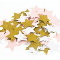 Wholesale gold table confetti - 100pcs Stars Glitter Table Confetti Birthday Party Wedding Decoration Sparkle Multicolor Gold Blue Rose Paper Confetti Supplies