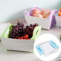 Wholesale vegetable storage baskets - 3 Colors Plastic Creative Fruit Vegetable Colander Draining Basket Storage Folding Design Collapsible Kitchen Strainer NNA377
