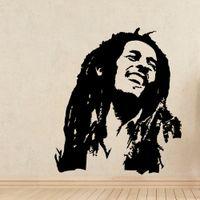 art de la salle de musique achat en gros de-Musique Stickers Muraux Bob Marley Reggae Rasta Jamaïque Grand Vinyle Autocollant Mural de Maison Décoratif