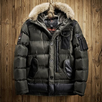 Wholesale mens fur collared overcoat for sale - Group buy Mens Winter Parkas With Fur Hood Warm Winter Jackets Men Zipper Thick Padded Long Down Jacket Mens Overcoat Youth Winter Jackets