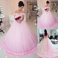 Glamorous Tulle & Satin Off-the-shoulder Neckline Basque Waistline Ball Gown Wedding Dress With 3D Flowers cathedral train Bridal Dress