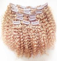 ingrosso estensioni dei capelli bionda una clip-Nuova clip brasiliana in estensioni vergini crespi ricci crespi capelli biondi 27 # Clip nelle estensioni dei capelli 120 g un set