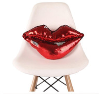 Wholesale lips chair online - Decorative Pillow Sexy Lip Paillette Cushions Reversible Funny Home Decoration Sofa Chair Pillows For Lover Gifts Pillows Stuffed Plush Toys