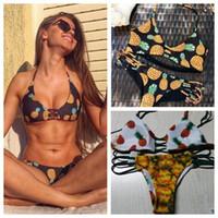 mayo düşük boyun toptan satış-2 Renkler Yeni Stil Yüksek Boyun Halter Bikini Set Ananas Mayo Düşük Bel Backless Bikini Brezilyalı Mayo Seksi Beachwear CCA8550 10 adet