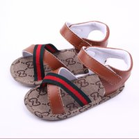 Wholesale baby girls pattern shoes resale online - Summer Baby Boys Girls Sandals Toddler First Walker Slip On Shoes Baby PU Leather Sandals Months