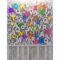 ingrosso vinile per la stampa digitale-Digital Stampato Alfabeti Parete 3D Fondali Fotografia Vinile Bambino Foto neonato Pops Bambini Bambini Sfondi fotografici Pavimento in legno
