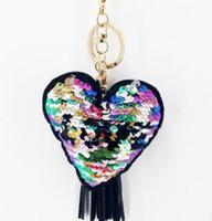 lentejuelas reflectantes al por mayor-Lentejuelas de moda en forma de corazón AMOR llavero colgante de lentejuelas reflexivo colgante llavero del coche pequeño regalo accesorios de la joyería