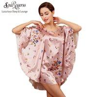 Wholesale Top Robes For Women - Wholesale-Big Size Nightwear Bath Robe 2017 Women Night Shirt Faux Silk Special Sleep Lounge Ladies Sleep Shirt For Sleep Pyjama Top Sale