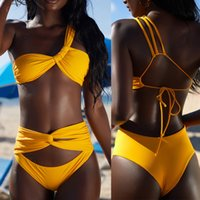 ingrosso micro bikini giallo-Micro Bikini Sexy Set One Swimwear Bikini 2018 Mujer Costume da bagno Donna High Swist Swimwear Costume intero Giallo Costume da bagno