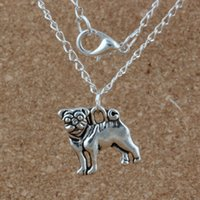 Wholesale pug pendants resale online - MIC Ancient silver Alloy Pug Dog Charms Pendant Necklaces inches Chains Jewelry DIY A d