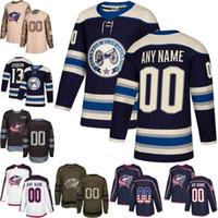 eishockey jerseys columbus großhandel-2019 Navy Alternate Custom Mens Frauen Jugend Columbus Blue Jacken Cam Atkinson Nick Foligno Sergei Bobrovsky Hockey Trikots genäht S-3XL