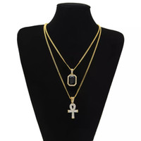 rubine halsketten-sets großhandel-Ägyptische Ankh Schlüssel des Lebens Bling Strass Kreuz Anhänger mit rotem Rubin Anhänger Halskette Set Männer Mode Hip Hop Schmuck