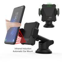 carregador de suporte para carro venda por atacado-2 in1 Car Mount Holder Smart Wireless Charger para Samsung S6 S7 S8 + Note5 S6 S7 borda Pad para iPhone 8 X