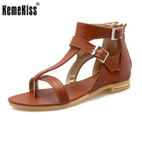 Wholesale ladies shoes zipper - Lady Summer Fashion Buckle Strap Shoes Flats Heel Gladiator Brief Flip-Flop Sandals Flats Zipper Women Shoes Size 34-43 PA00793