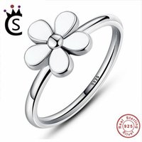 8e7f3b7ff2bf 2018 Flower 925 Sterling Silver Jewelry Darling DAISY Stackable RING White  Enamel WITH WHITE ENAMEL Authentic Jewelry