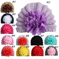 Wholesale fashion caps flower beanie resale online - Newborn Girl Big Flower Beanie Hat Kids Flower Knitted Hat Hollow Out Flower Caps Fashion Photography Props Accessories