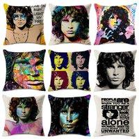 schlafzimmer malerei porträts großhandel-Jim Morrison Kissenbezüge Sänger Porträt Aquarell Leinen Kissenbezug 15 Styles 45x45cm Schlafzimmer Sofa Dekor