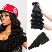 Wholesale brazilian human hair cheap prices online - Ishow Human Hair Cheap A Brazilian Loose Wave With x4 Lace Closure Peruvian Virgin Human Hair Extensions Price