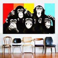 Wholesale new pop art painting resale online - Oil Animal On Handpainted Art Canvas Painting A076 Art Funny Decoration Canvas Sizes Chimps Home Multi NEW Pop Kfboj